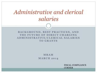 Administrative and clerical salaries