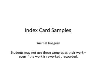 Index Card Samples