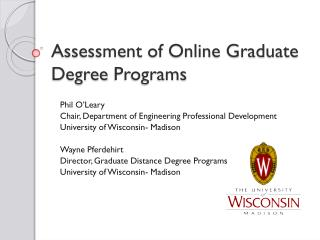 Assessment of Online Graduate Degree  Programs