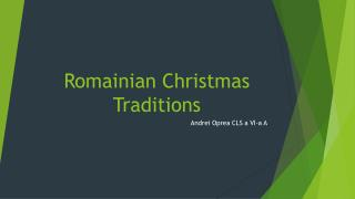 Romainian  Christmas Traditions