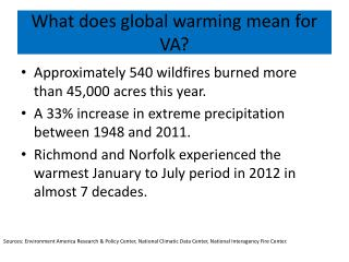 What does global warming mean for VA?