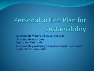 Personal action Plan for sustainability