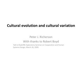 Cultural evolution and cultural variation
