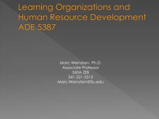 Learning Organizations and Human Resource Development ADE 5387