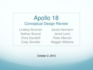 Apollo 18 Conceptual  Design Review
