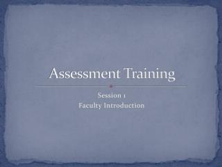 Assessment Training