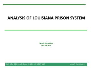 ANALYSIS OF LOUISIANA PRISON SYSTEM