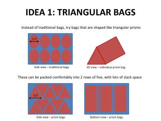 Instead of traditional bags, try bags that are shaped like triangular prisms