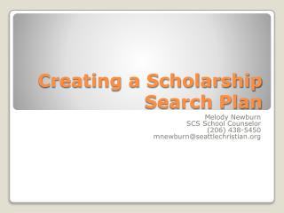 Creating a Scholarship Search Plan