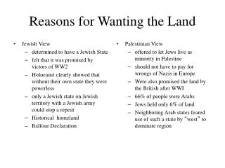 Reasons for Wanting the Land