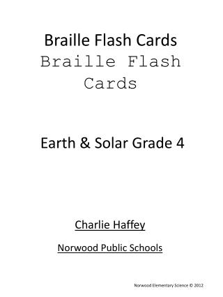 Braille Flash Cards Braille Flash Cards
