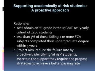 Supporting academically at risk students: A proactive approach