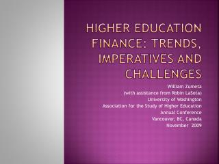 Higher Education Finance: Trends, Imperatives and Challenges