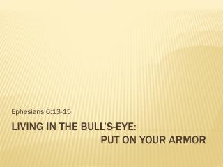 Living in the Bull's-eye:   Put on Your Armor