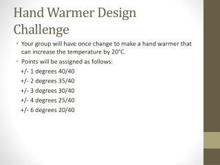 Hand Warmer Design Challenge