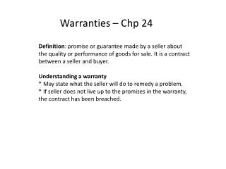 Warranties  �  Chp 24