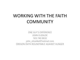 WORKING WITH THE FAITH COMMUNITY