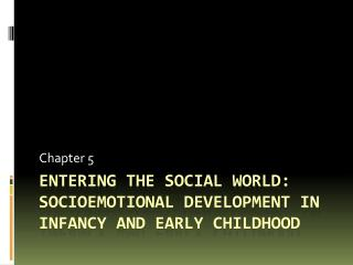 Entering the social world: Socioemotional  development in infancy and early childhood