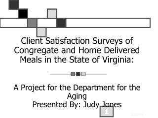Client Satisfaction Surveys of Congregate and Home Delivered Meals in the State of Virginia:    A Project for the Depart