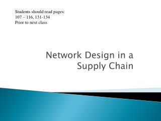 Network Design in a Supply Chain