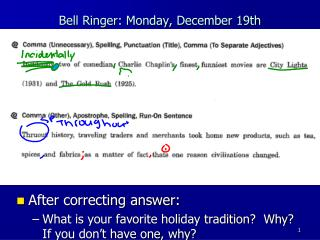 Bell Ringer: Monday, December 19th