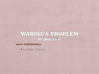 Waring's  problem by  zhixuan li