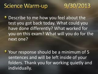 Science Warm-up 9/30/2013