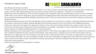 President's report 2014 Dear  REpower  Shoalhaven members,