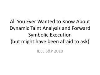IEEE S&P 2010