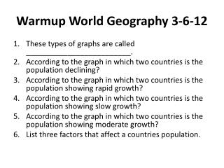 Warmup  World Geography 3-6-12