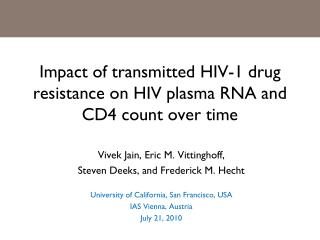 Impact of transmitted HIV-1 drug resistance on HIV plasma RNA and CD4 count over time