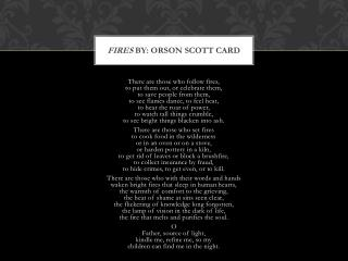 Fires  By: Orson Scott Card