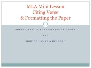 MLA Mini Lesson Citing Verse & Formatting the Paper