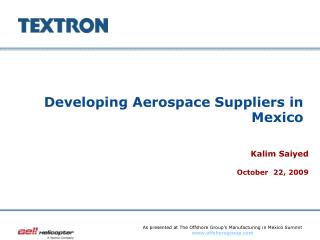 Developing Aerospace Suppliers in Mexico