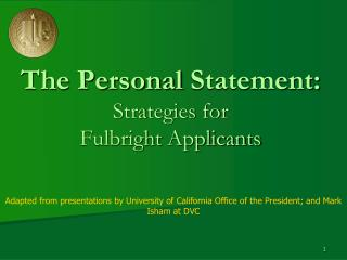 The Personal  Statement: Strategies for  Fulbright  Applicants