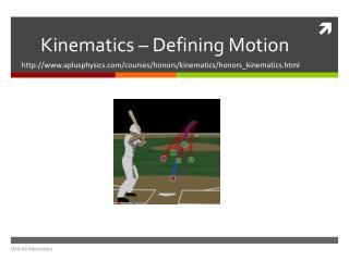 Kinematics – Defining Motion
