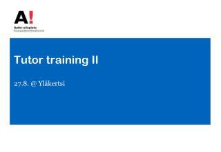 Tutor  training  II