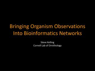 Bringing Organism Observations Into Bioinformatics Networks