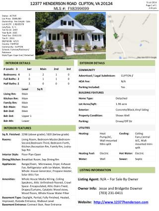 12377 HENDERSON ROAD  CLIFTON, VA 20124 MLS #:  FX8399699