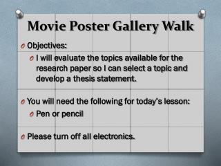 Movie Poster Gallery Walk