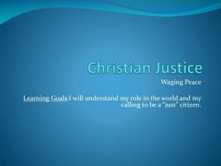 Christian Justice