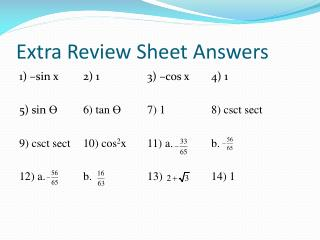 Extra Review Sheet Answers