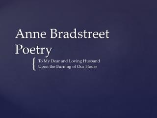 Anne Bradstreet Poetry