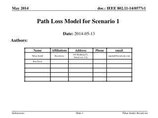 Path Loss Model for Scenario 1