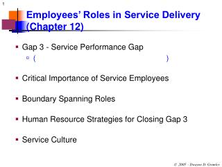 Employees  Roles in Service Delivery Chapter 12