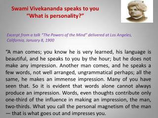 "Swami Vivekananda speaks to you ""What is personality?"""