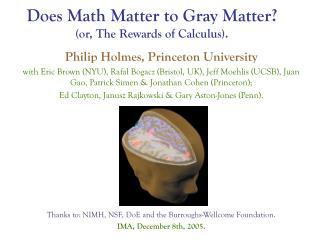 Does Math Matter to Gray Matter or, The Rewards of Calculus.