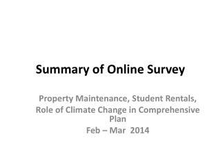 Summary of Online Survey