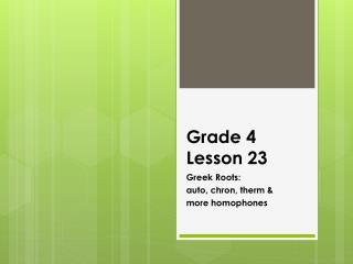 Grade 4 Lesson 23