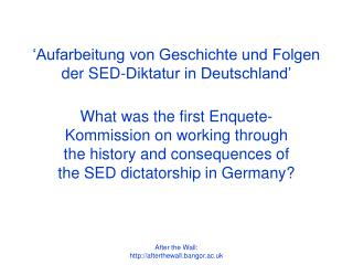 'Aufarbeitung von Geschichte und Folgen der SED-Diktatur in Deutschland'